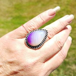 New Botswana Agate Sterling Silver Ring Sz 6
